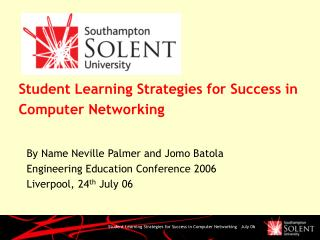 Student Learning Strategies for Success in Computer Networking