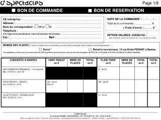 O SPECTACLES 12 rue Emile PEHANT– 44000 NANTES – Tèl : 02 40 48 97 30 – Fax : 02 40 47 46 08