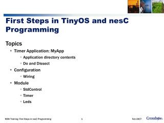 First Steps in TinyOS and nesC Programming