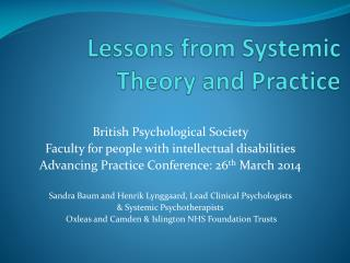 Lessons  from Systemic Theory and Practice