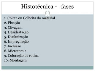 Histotécnica -   fases