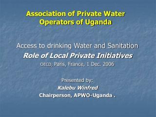 Association of Private Water Operators of Uganda