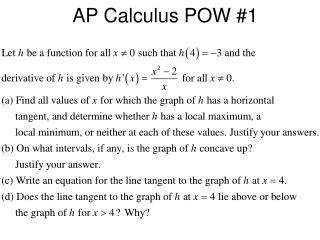 AP Calculus POW #1