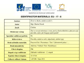 IDENTIFIKÁTOR MATERIÁLU: EU - 17 - 8