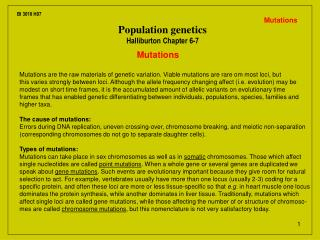 Population genetics Halliburton Chapter 6-7