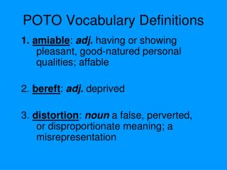 POTO Vocabulary Definitions