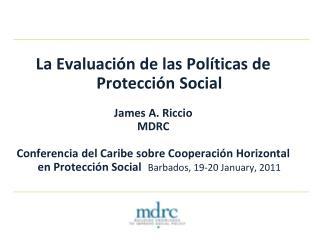 La Evaluación de las Políticas de Protección Social James A. Riccio MDRC