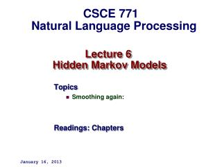 Lecture 6  Hidden Markov Models