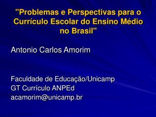 """""""Problemas e Perspectivas para o Currículo Escolar do Ensino Médio no Brasil"""""""