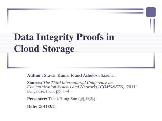 Data Integrity Proofs in  Cloud Storage