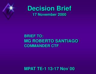 Decision Brief 17 November 2000