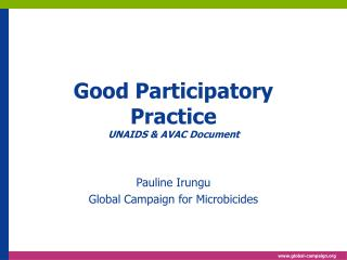 Good Participatory Practice UNAIDS  AVAC Document