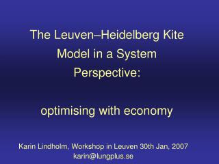 The Leuven�Heidelberg Kite Model in a System Perspective: optimising with economy