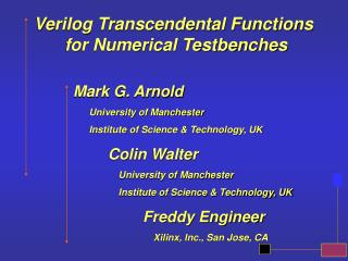 Verilog Transcendental Functions  for Numerical Testbenches
