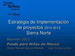 Estrategia de Implementación de proyectos  2010-20 13 Sierra Norte