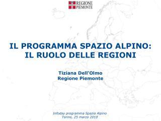 IL PROGRAMMA SPAZIO ALPINO: IL RUOLO DELLE REGIONI Tiziana Dell'Olmo Regione Piemonte