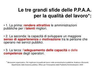 Le tre grandi sfide delle P.P.A.A.  per la qualità del lavoro*: