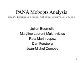 PANA Mobopts Analysis draft-bournelle-pana-mobopts-analysis-00.txt