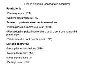 Elenco elaborati (consegna 2 dicembre) Fondazioni:  Pianta quotata (1/50)