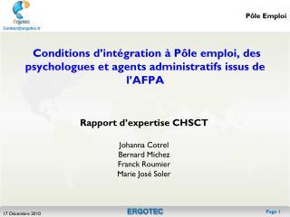 Conditions d'intégration à Pôle emploi, des psychologues et agents administratifs issus de l'AFPA
