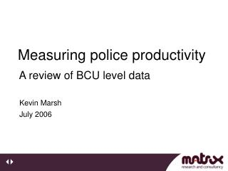 Measuring police productivity