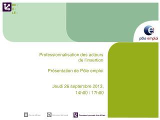 Professionnalisation des acteurs de l'insertion Présentation de Pôle emploi