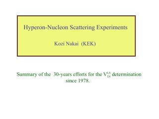 Hyperon-Nucleon Scattering Experiments