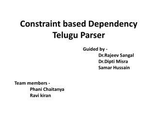 Constraint based Dependency Telugu Parser