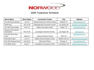 2008 Tradeshow Schedule