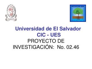 Universidad de El Salvador     CIC - UES PROYECTO DE INVESTIGACIÓN:  No. 02.46
