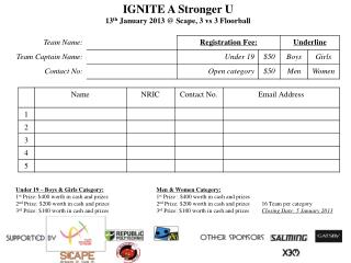 IGNITE A Stronger U 13 th  January 2013 @ Scape, 3 vs 3 Floorball