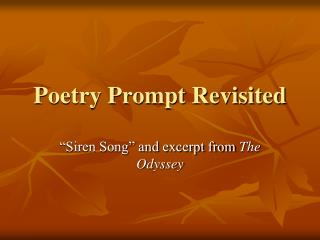 Poetry Prompt Revisited