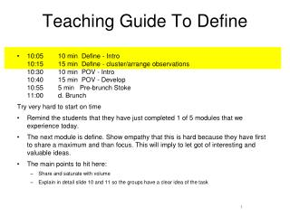 Teaching Guide To Define