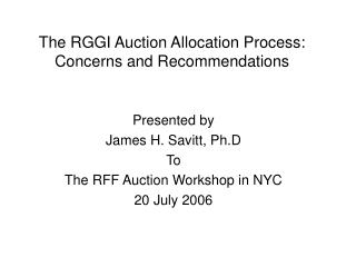 The RGGI Auction Allocation Process:  Concerns and Recommendations