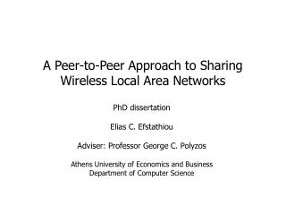A Peer-to-Peer Approach to Sharing Wireless Local Area Networks