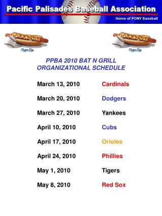 PPBA 2010 BAT N GRILL ORGANIZATIONAL SCHEDULE