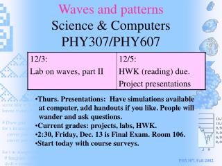 Waves and patterns Science & Computers PHY307/PHY607