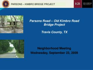 Parsons Road   Old Kimbro Road Bridge Project   Travis County, TX