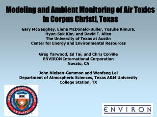 Modeling and Ambient Monitoring of Air Toxics in Corpus Christi, Texas