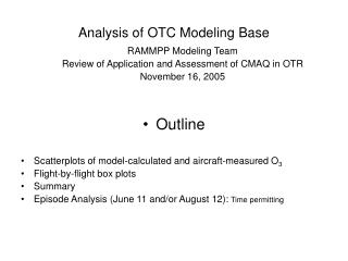 Analysis of OTC Modeling Base