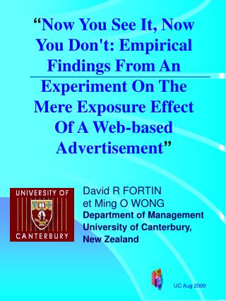 David R FORTIN  et Ming O WONG Department of Management University of Canterbury,  New Zealand