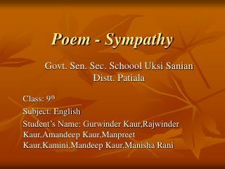 Poem - Sympathy