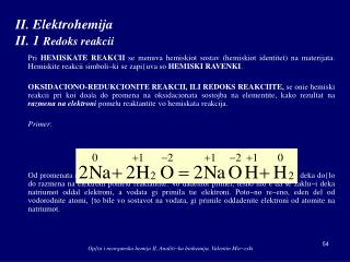 II.  Elektrohemija II. 1 Redoks reakcii