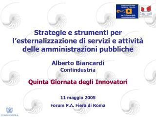 Alberto Biancardi Confindustria Quinta Giornata degli Innovatori 11 maggio 2005