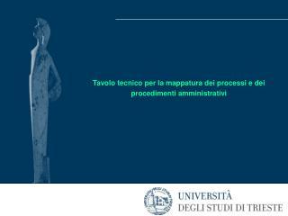 Tavolo tecnico per la mappatura dei processi e dei procedimenti amministrativi