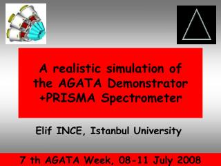 A realistic simulation of  the  AGATA Demonstrator + PRISMA Spectrometer