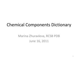 Chemical Components Dictionary