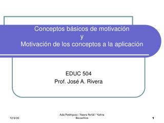 Conceptos básicos de motivación y Motivación de los conceptos a la aplicación