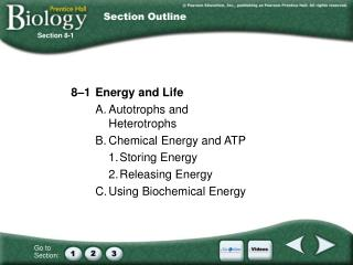8–1 	Energy and Life A.	Autotrophs and Heterotrophs B.	Chemical Energy and ATP 1.	Storing Energy