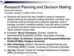 Research Planning and Decision Making Concurrent Session Thursday, January 8, 2009, 2:00-3:15 p.m.